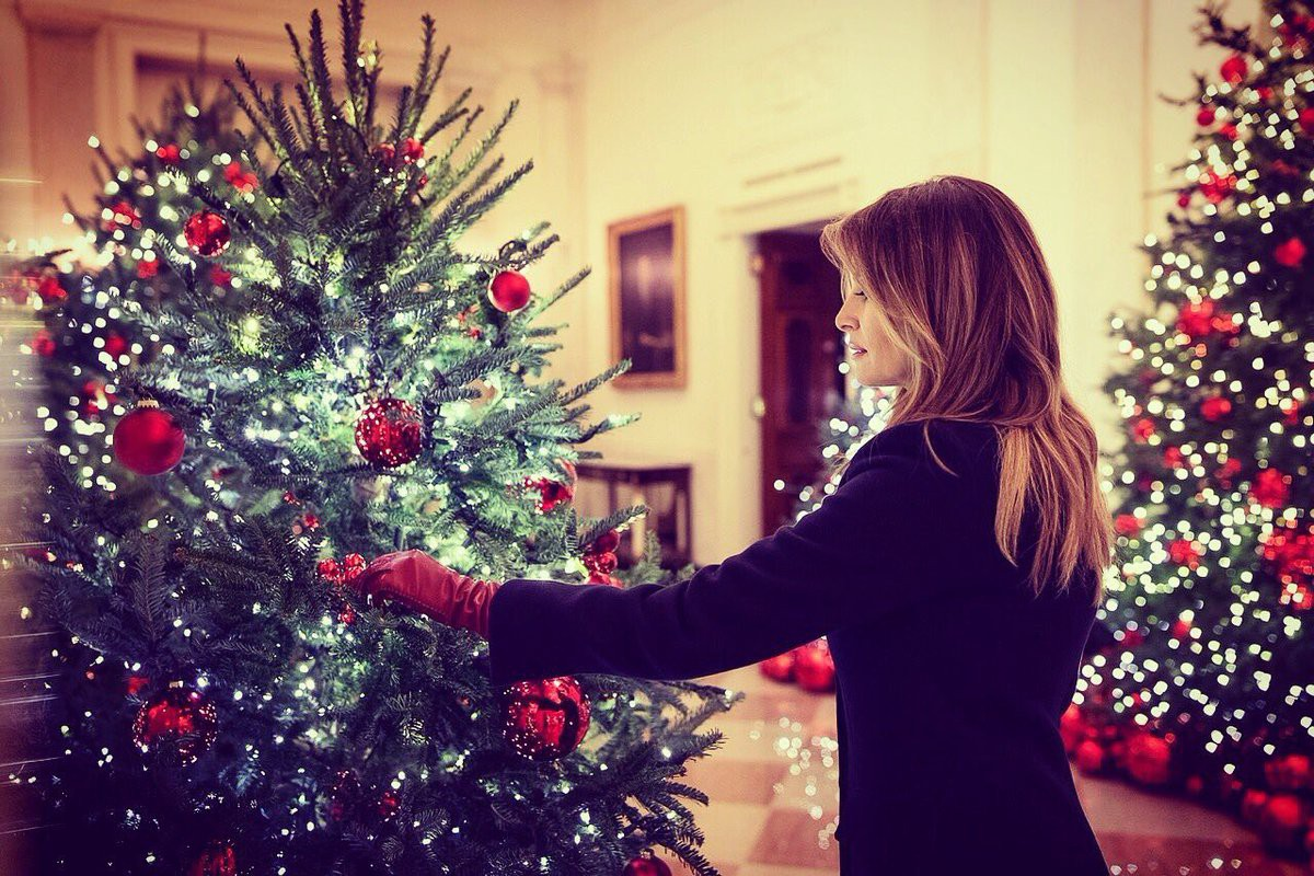 Trang trí Giáng sinh cho Nhà Trắng, bà Melania Trump gây tranh cãi khi sử dụng toàn cây thông màu đỏ - Ảnh 6.
