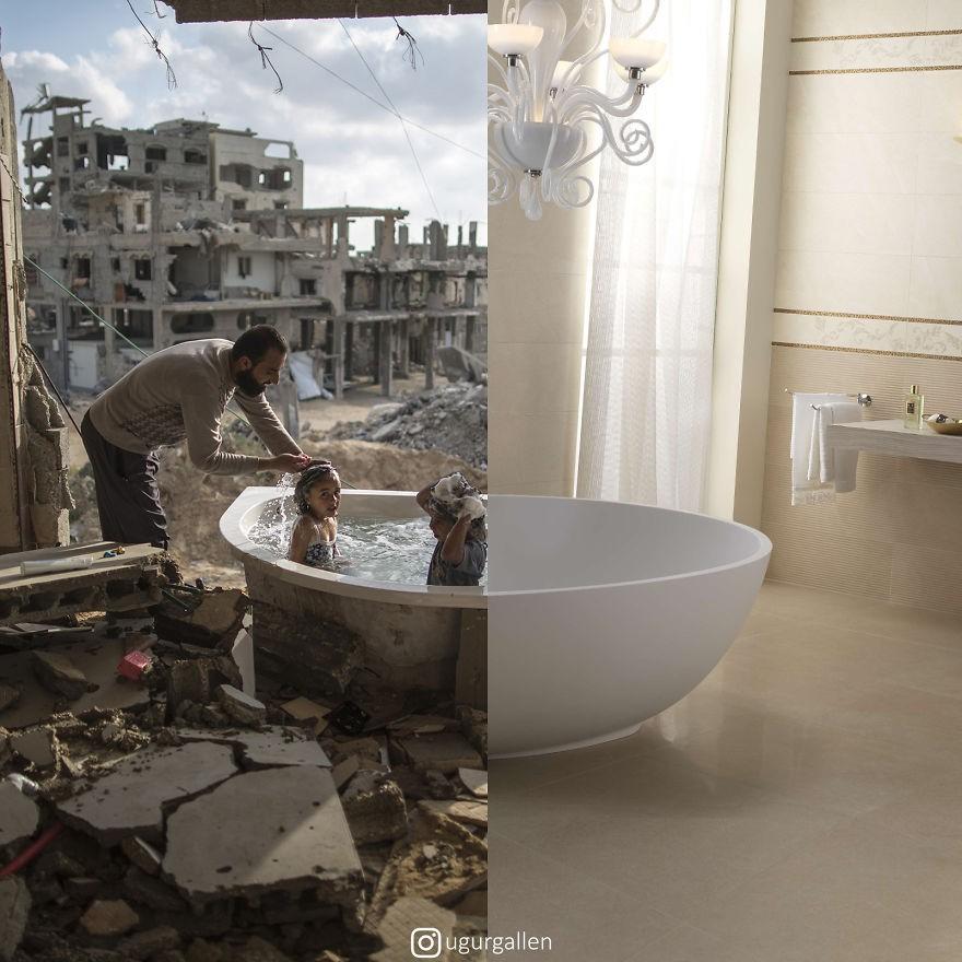 Rơi nước mắt với loạt ảnh cuộc sống tương phản của những vùng đất trên thế giới: Bên này bình yên, bên kia giông bão - Ảnh 1.