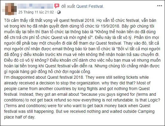 Lễ hội âm nhạc Quest Festival ở Hà Nội bị hủy vào giờ chót: Hàng nghìn khán giả vẫn đang mòn mỏi chờ được hoàn tiền - Ảnh 10.