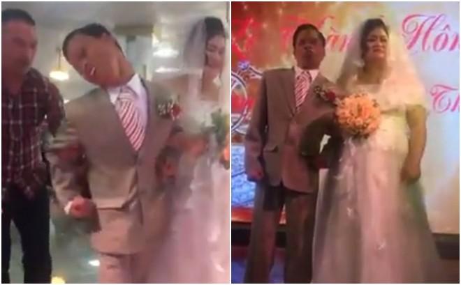 Cặp đôi trong lễ thành hôn của mình - Ảnh cắt từ clip