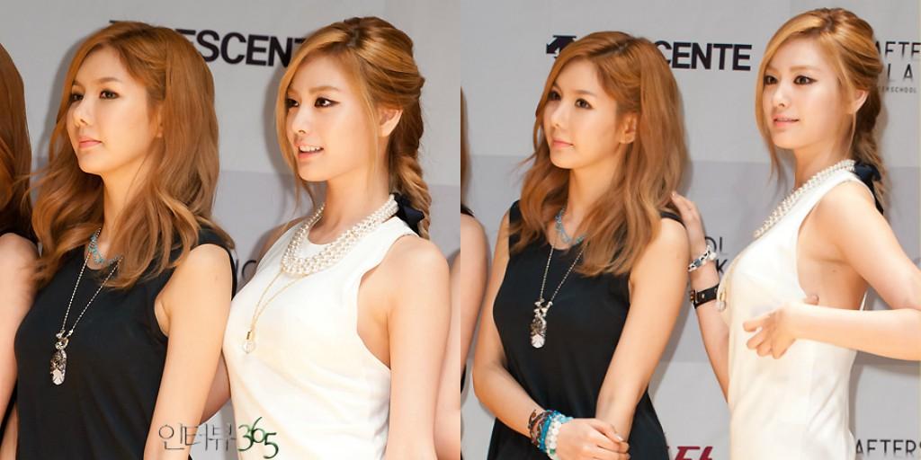 Trong After School, Jung Ah là thành viên mờ nhạt cả về nhan sắc lẫn danh tiếng. Trong khi đó, Nana là một trong số những thành viên nổi bật nhất. Trong những bức hình chụp cùng nhau năm xưa, Jung Ah luôn lép vế trước một Nana quá đỗi xinh đẹp