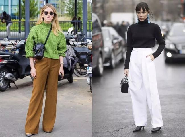 Áo len và quần ống rộng chính là chân ái của các nàng công sở trong thời tiết này - Ảnh 1.