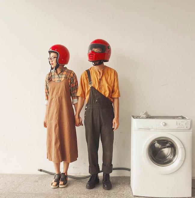 Cặp đôi giấu mặt, đội mũ bảo hiểm đỏ đang hot trên Instagram: Lên Đà Lạt vì thất tình ai ngờ gặp ngay chân ái! - Ảnh 2.