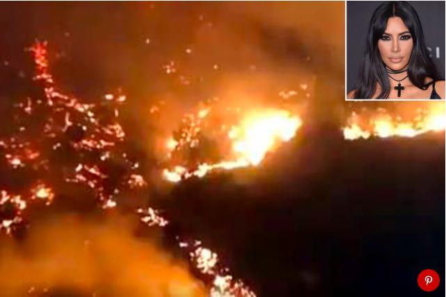 Kim Kardashian gấp rút bỏ biệt thự chạy lấy người vì đám cháy lớn lan đến - Ảnh 1.