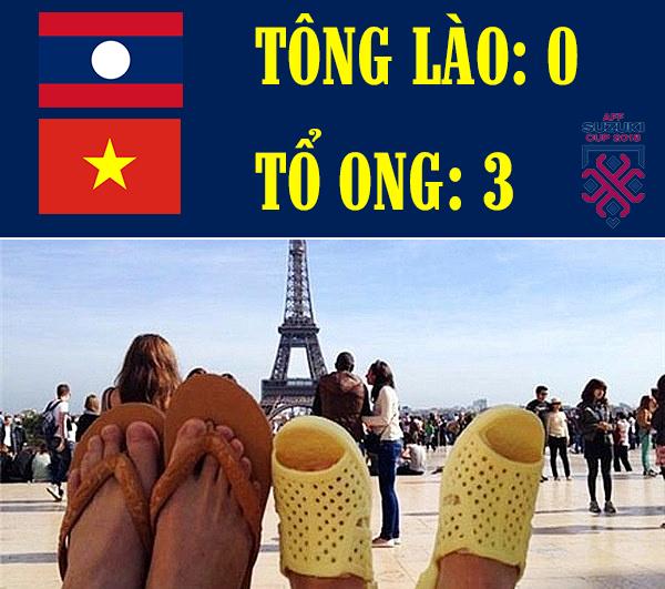 Ảnh chế AFF Cup: Dép tổ ong Việt Nam hơn đứt Tông Lào - Ảnh 1.