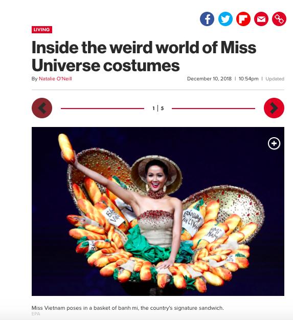 Báo Mỹ chỉ đích danh bộ Bánh mì của HHen Niê là một trong những trang phục dị nhất Miss Universe 2018 - Ảnh 1.