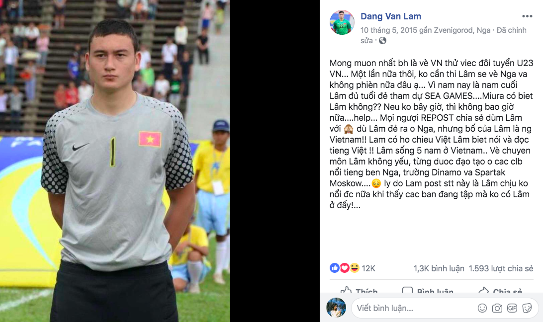 Tâm thư tha thiết của Lâm Tây 3 năm trước: Muốn về Việt Nam thử việc cho U23, nếu không được sẽ về Nga và không phiền nữa đâu - Ảnh 1.