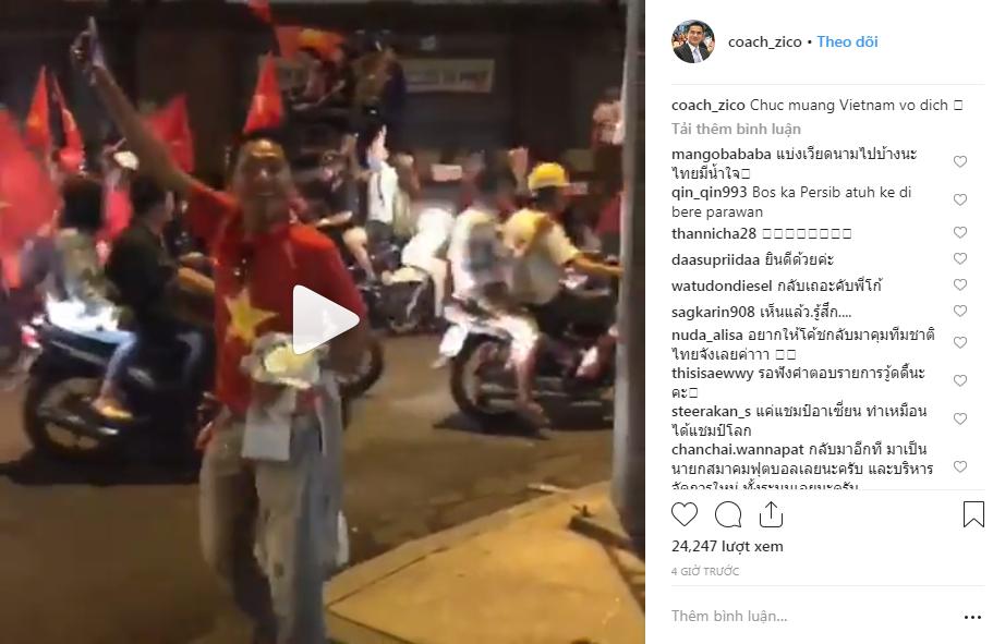 Huyền thoại Thái Lan Kiatisuk đăng ảnh đi bão, chúc mừng chiến tích vô địch của đội tuyển Việt Nam - Ảnh 1.