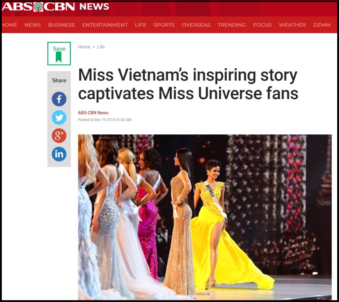 Hàng loạt báo quốc tế hết lời khen ngợi H'Hen Niê sau thành tích tại Miss Universe 2018 - Ảnh 3.