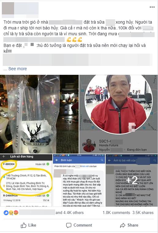 Bác tài xế xe ôm công nghệ khổ sở vì bị bom cốc trà sữa trong đêm mưa ở Sài Gòn: Cuộc đời tôi đâu dám uống đồ mắc quá vậy - Ảnh 1.