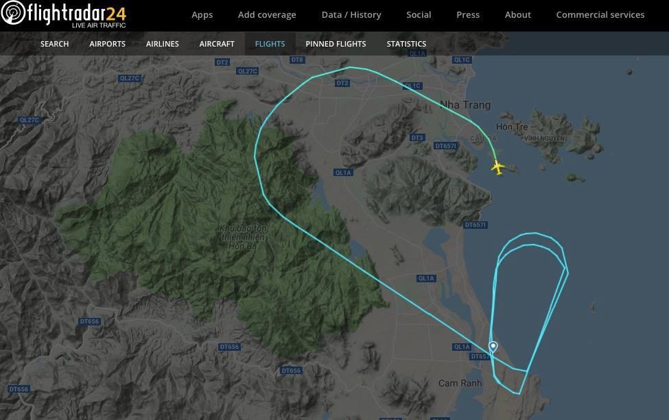 Đường bay của chiếc VJ689 của Vietjet vừa gặp sự cố đáp nhầm đường băng.