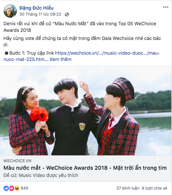 Nghệ sĩ Vbiz đồng loạt kêu gọi fan đề cử, quyết ẵm giải thưởng tại WeChoice Awards 2018 - Ảnh 6.