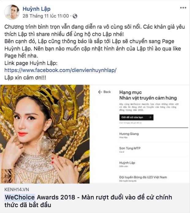 Nghệ sĩ Vbiz đồng loạt kêu gọi fan đề cử, quyết ẵm giải thưởng tại WeChoice Awards 2018 - Ảnh 1.