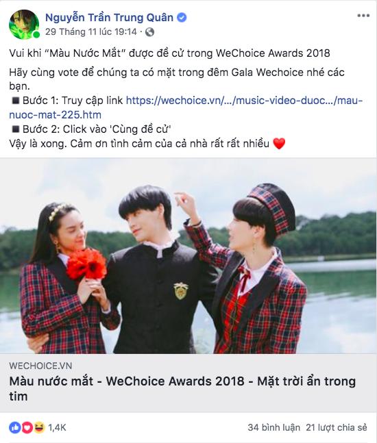 Nghệ sĩ Vbiz đồng loạt kêu gọi fan đề cử, quyết ẵm giải thưởng tại WeChoice Awards 2018 - Ảnh 5.