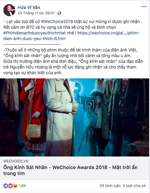 Nghệ sĩ Vbiz đồng loạt kêu gọi fan đề cử, quyết ẵm giải thưởng tại WeChoice Awards 2018 - Ảnh 9.