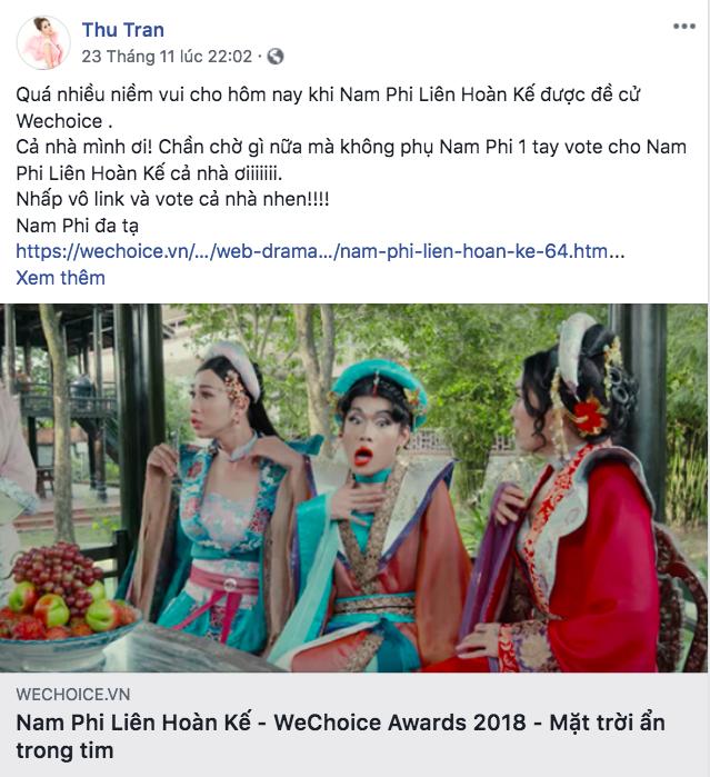 Nghệ sĩ Vbiz đồng loạt kêu gọi fan đề cử, quyết ẵm giải thưởng tại WeChoice Awards 2018 - Ảnh 11.