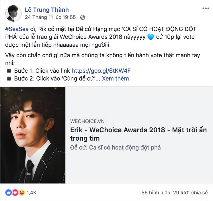 Nghệ sĩ Vbiz đồng loạt kêu gọi fan đề cử, quyết ẵm giải thưởng tại WeChoice Awards 2018 - Ảnh 2.