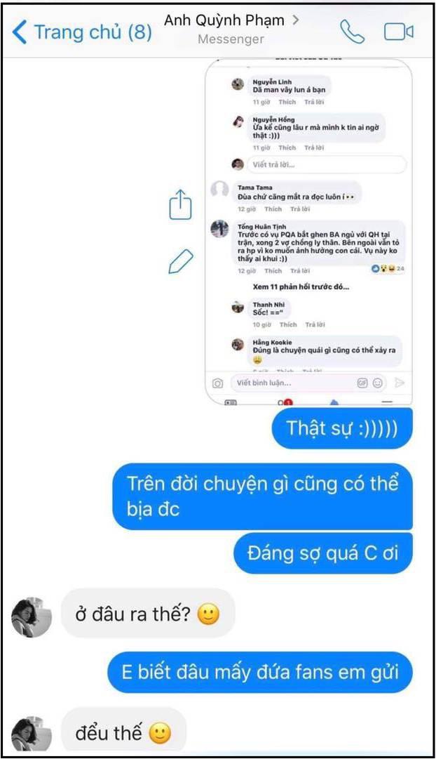 Bảo Anh tung tin nhắn khẳng định lần cuối không liên quan đến đổ vỡ của Phạm Quỳnh Anh và Quang Huy - Ảnh 1.