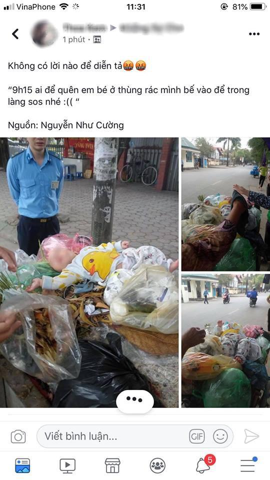 Hà Nội: Bé trai kháu khỉnh bị người thân bỏ quên trên thùng rác giữa phố - Ảnh 1.