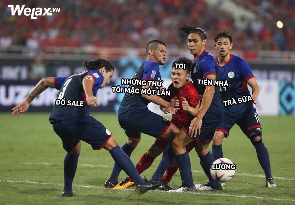 Sau Công Phượng, lại đến hình ảnh Quang Hải kẹp giữa 4 cầu thủ đội bạn lên bàn chế meme của cộng đồng mạng! - Ảnh 2.