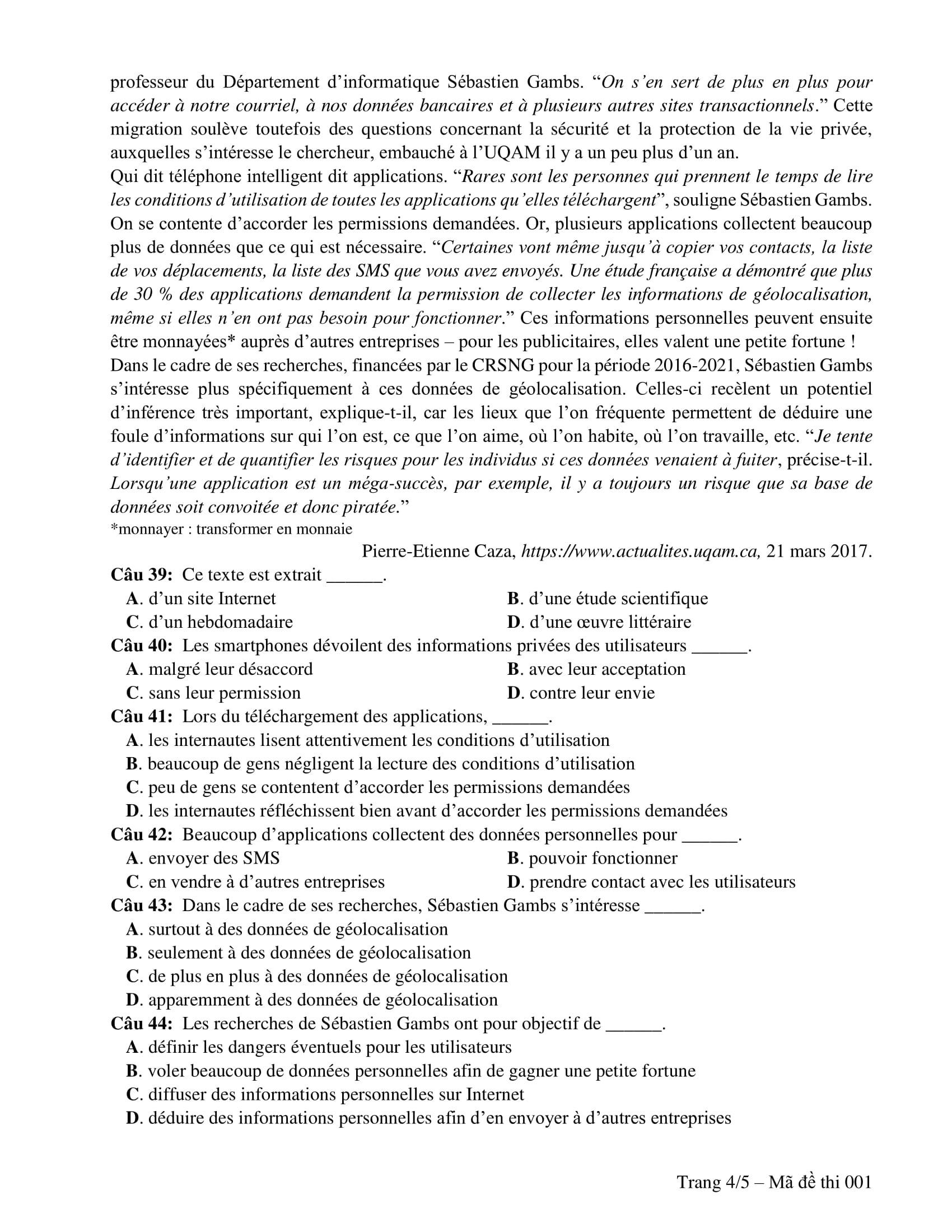 Đề thi minh hoạ THPT Quốc gia năm 2019: Tiếng Pháp - Ảnh 4.
