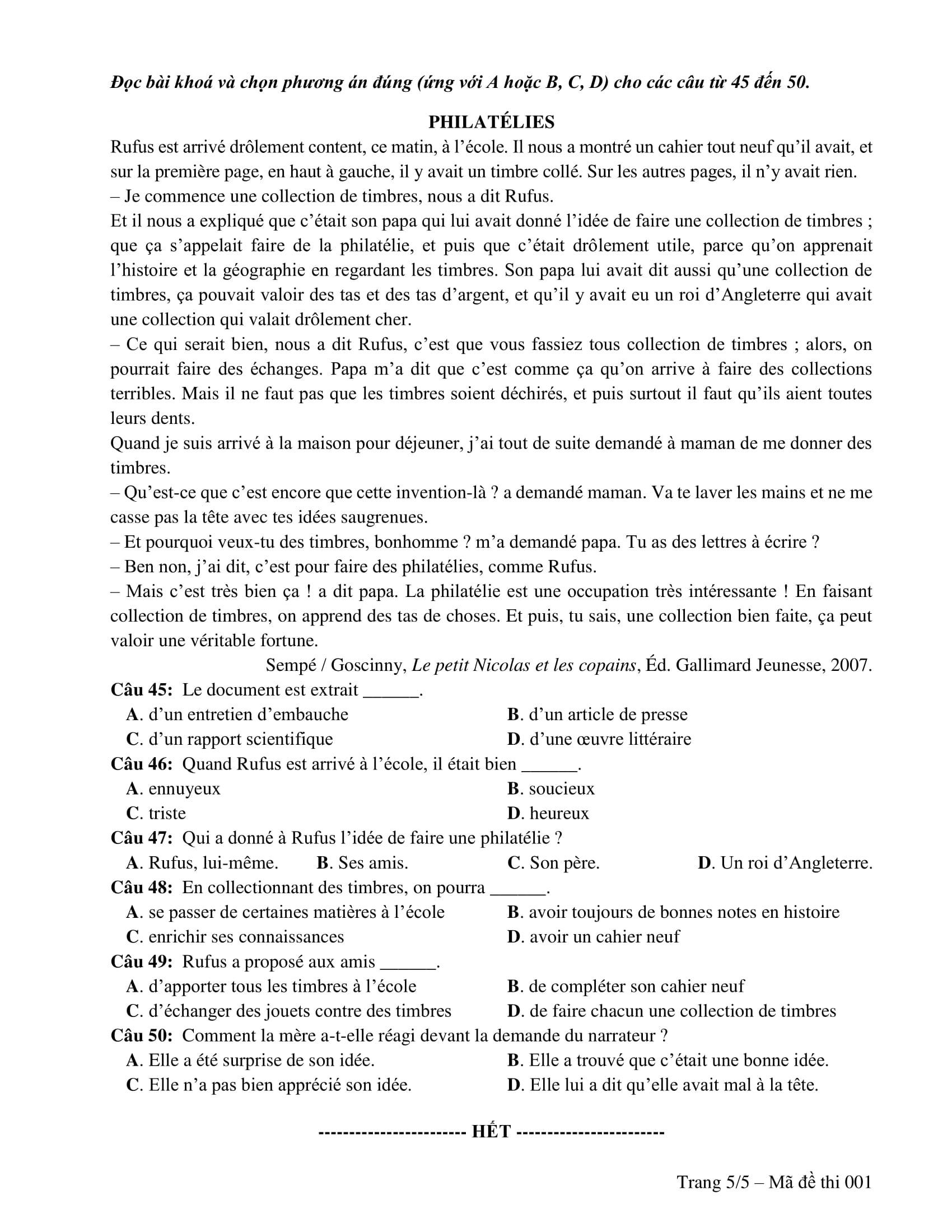 Đề thi minh hoạ THPT Quốc gia năm 2019: Tiếng Pháp - Ảnh 5.