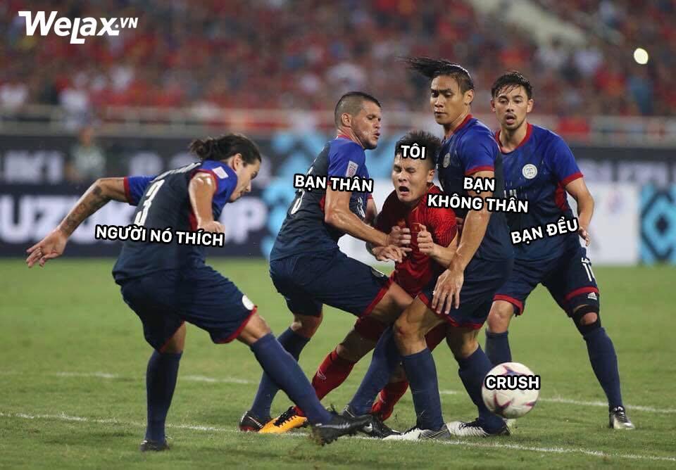 Sau Công Phượng, lại đến hình ảnh Quang Hải kẹp giữa 4 cầu thủ đội bạn lên bàn chế meme của cộng đồng mạng! - Ảnh 3.
