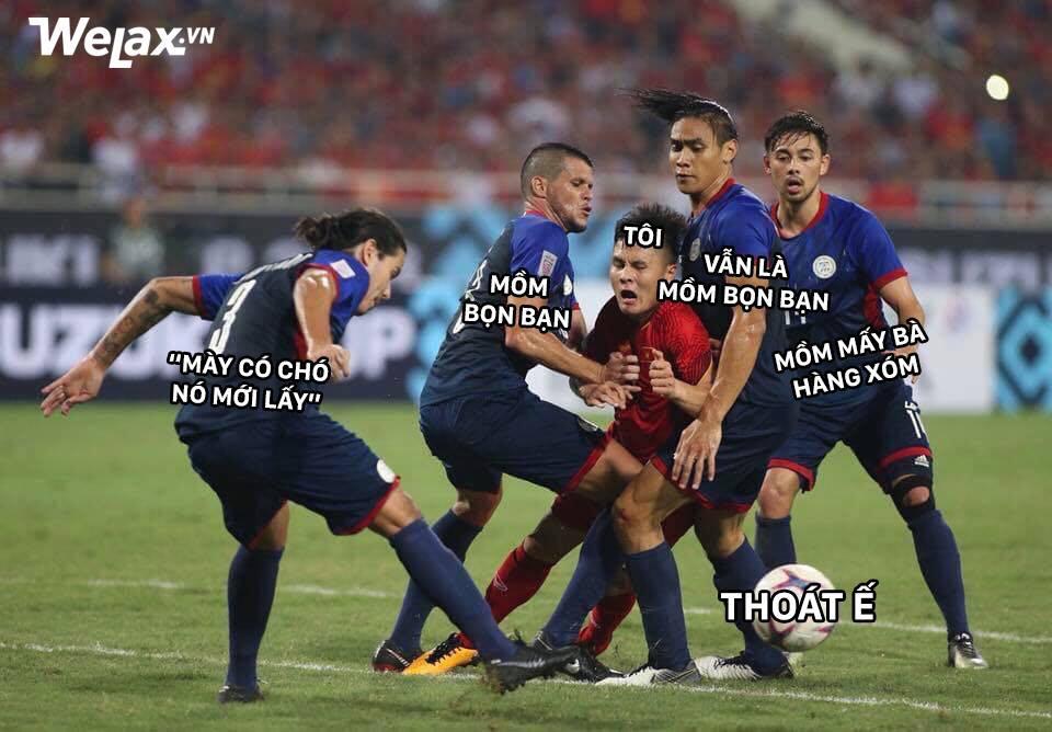 Sau Công Phượng, lại đến hình ảnh Quang Hải kẹp giữa 4 cầu thủ đội bạn lên bàn chế meme của cộng đồng mạng! - Ảnh 4.