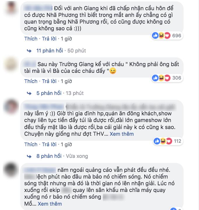 """Dân mạng tranh cãi khi Trường Giang bị loại khỏi vòng bầu chọn Mai Vàng vì """"cướp sóng"""" cầu hôn Nhã Phương"""