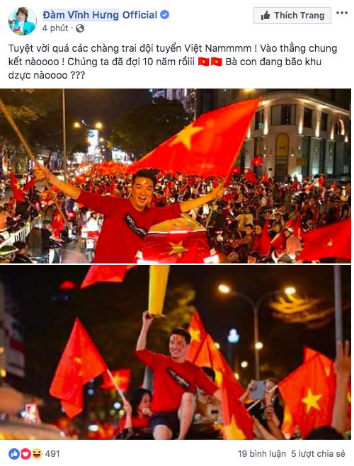 Dàn sao Vbiz đang ăn mừng tuyển Việt Nam vào chung kết: Mỗi người một kiểu, ai cũng vui nổ trời! - Ảnh 3.