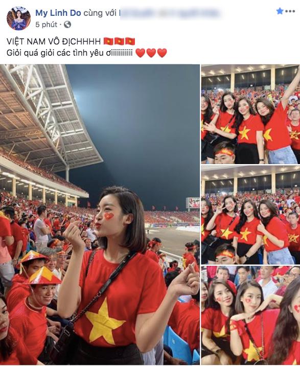 Đông Nhi phấn khích đến té lăn, Đỗ Mỹ Linh cùng dàn sao Vbiz ăn mừng tuyển Việt Nam chiến thắng - Ảnh 2.