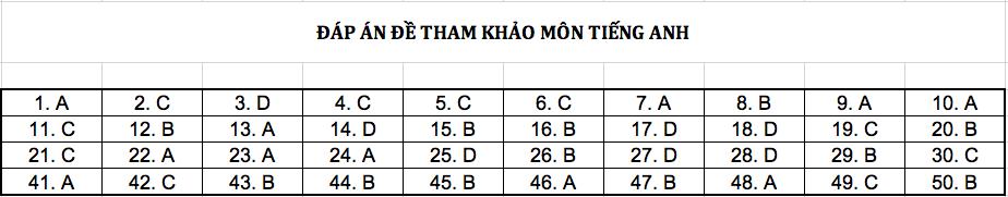 Đáp án chi tiết tất cả các môn đề thi mẫu THPT Quốc gia năm 2019 - Ảnh 2.