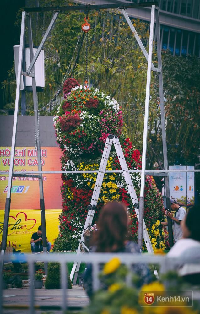 Chú chó khổng lồ bằng hoa lá đang dần hoàn thành.