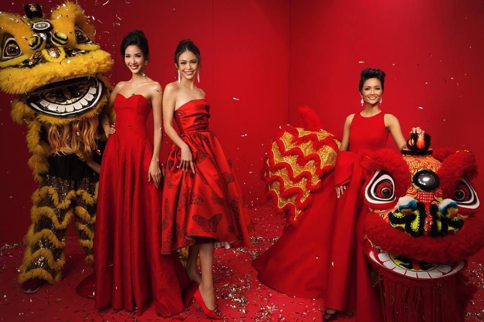 Top 3 Hoa hậu Hoàn vũ Việt Nam 2017 diện trang phục đỏ rực, khoe nhan sắc rạng rỡ trước thềm năm mới - Ảnh 5.