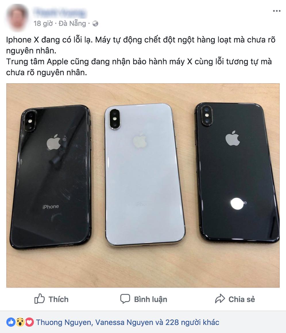 Người dùng Việt Nam phản ánh iPhone X có lỗi lạ, tự động sập nguồn rồi không bật lại được chưa rõ nguyên nhân - Ảnh 1.