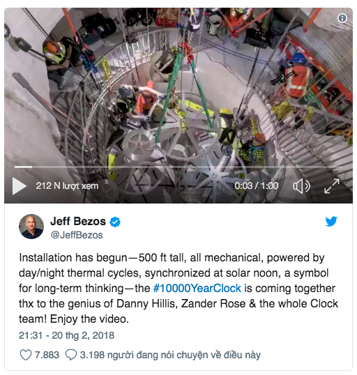 Tỷ phú Jeff Bezos xây cả một chiếc đồng hồ chạy 10.000 năm với giá 42 triệu USD bên trong một ngọn núi - Ảnh 2.