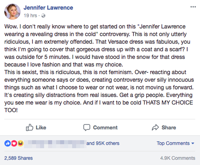 Bị chỉ trích vì mặc váy hở giữa trời 5 độ C, Jennifer Lawrence đáp trả: Phân biệt giới tính ngớ ngẩn! - Ảnh 2.