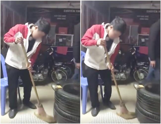 Nam thanh niên bị phạt quét sạch nhà trong đêm sau khi bị bắt quả tang đang lấy trộm quần áo. Ảnh cắt từ clip