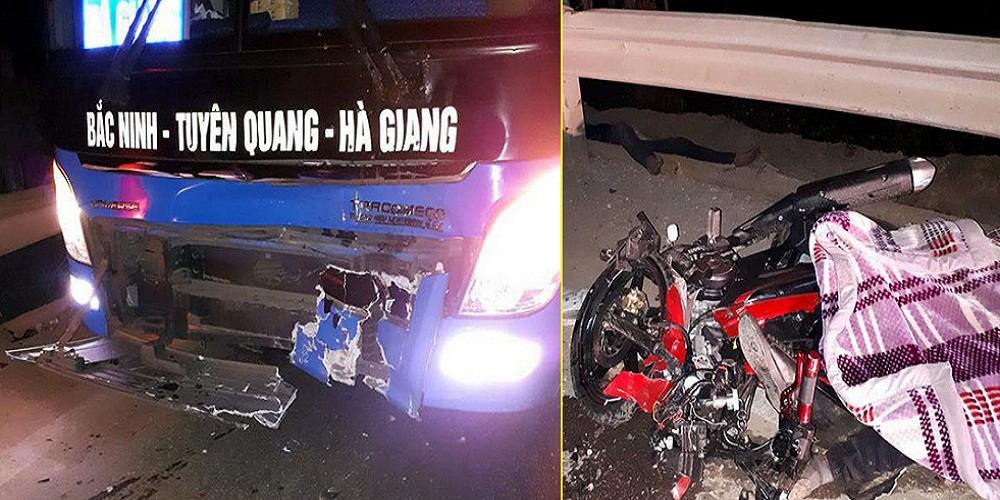 Xe máy chạy tốc độ cao đấu đầu xe khách, 3 thanh niên chết tại chỗ - Ảnh 1.