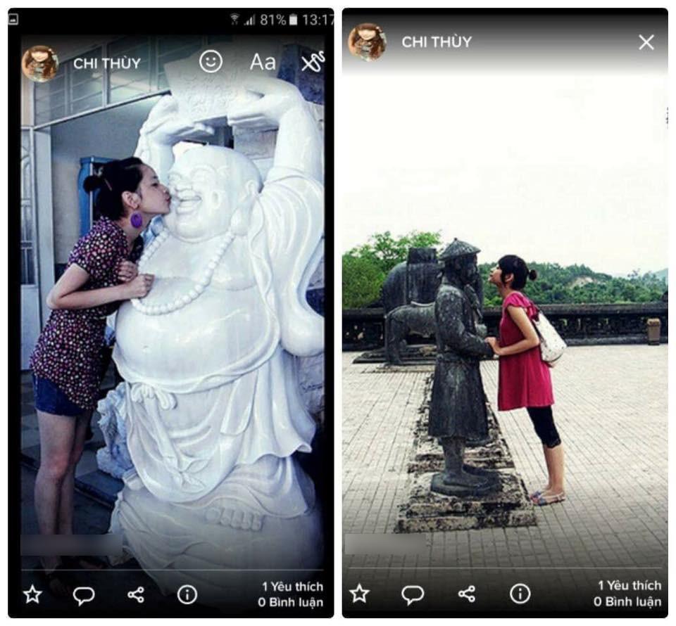 Loạt ảnh được cho là Chi Pu hôn và ngồi lên tượng Phật cách đây nhiều năm gây xôn xao mạng xã hội - Ảnh 2.