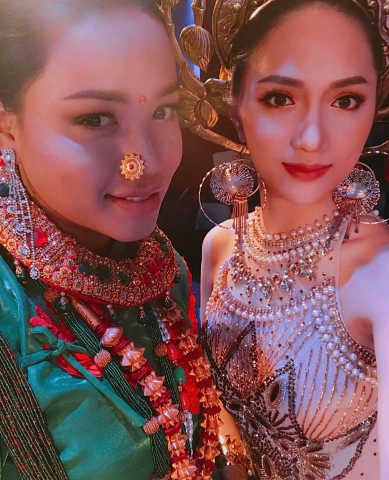 Diện trang phục dân tộc 55 kg, Hương Giang xuất hiện nổi bật ở vị trí trung tâm trong clip quảng bá của Hoa hậu Chuyển giới - Ảnh 3.