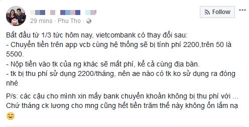 Không chỉ tăng phí dịch vụ SMS Banking lên 11.000 đồng, từ hôm nay Vietcombank còn thu phí chuyển tiền cùng hệ thống qua Mobile Banking - Ảnh 1.