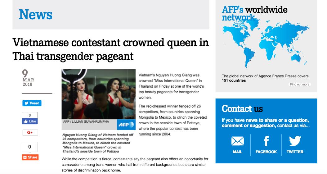 DailyMail, AFP cùng loạt tờ báo lớn nhất thế giới đưa tin Hương Giang đăng quang Hoa hậu Chuyển giới Quốc tế 2018 - Ảnh 2.