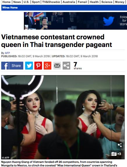 DailyMail, AFP cùng loạt tờ báo lớn nhất thế giới đưa tin Hương Giang đăng quang Hoa hậu Chuyển giới Quốc tế 2018 - Ảnh 3.
