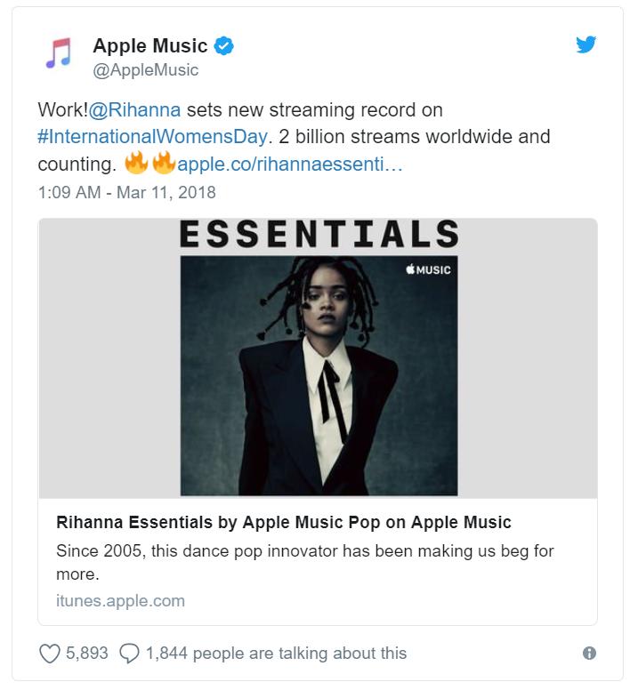 Lười ra album, Rihanna vẫn qua mặt tất cả sao nữ trên thế giới để vượt mốc 2 tỷ lượt nghe online của Apple Music - Ảnh 1.