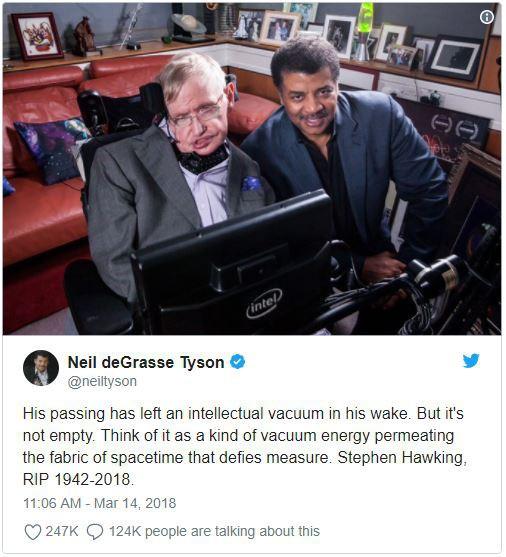 Giới khoa học cùng rất nhiều người nổi tiếng bày tỏ nỗi niềm tiếc nuối trước sự ra đi của nhà vật lý đại tài Stephen Hawking - Ảnh 1.
