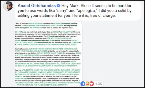 Mark Zuckerberg đăng status rất dài nhưng hình như lại quên nói 2 từ quan trọng nhất - Ảnh 1.