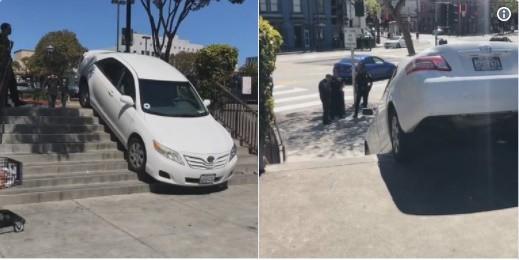 Tin lời bản đồ Uber, xe ô tô lao thẳng vào cầu thang người đi bộ và mắc kẹt 30 phút liền - Ảnh 1.