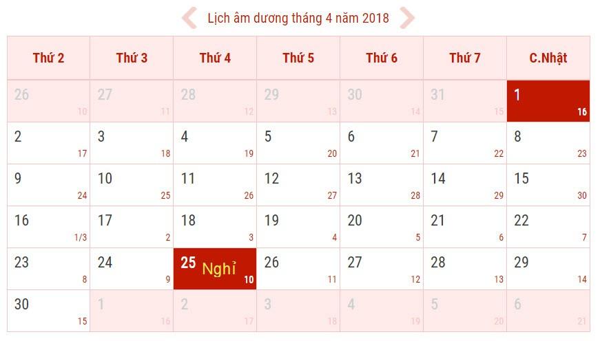 Lịch nghỉ dịp giỗ Tổ Hùng Vương, 30/4 và 1/5 năm