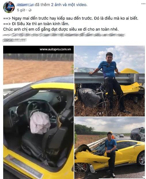 Sau tai nạn kinh hoàng, chủ xe Chevrolet Corvette chụp hình đăng Facebook: Chúc mọi người mua được siêu xe để đi an toàn - Ảnh 3.